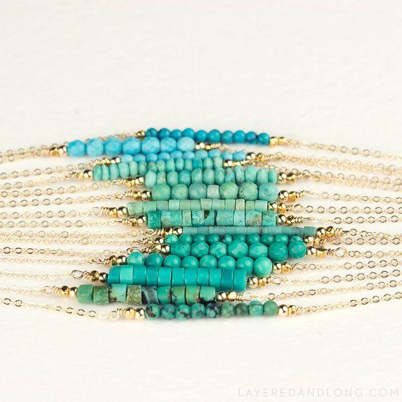 Turquoise Necklace Bead Bar Dainty 14k Gold Fill von LayeredAndLong