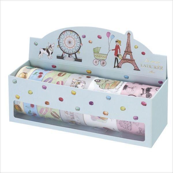 Laduree Masking Tape Japanese Washi Paper 6 Rolls Set Box limited Blue Free    eBay