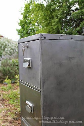From boring 1980s office file cabinet to bare steel industrial diy makeover! nightgardendesign.blogspot.com