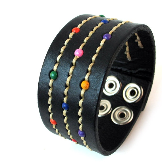 Stitched & Beaded Black Leather Cuff Bracelet Wristband, EcoFriendly, Reclaimed Leather, Unisex, Unique, OOAK