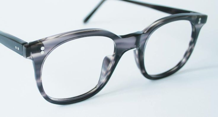 custom-made frames in swirling translucent grey, hand-made in England from vintage Italian acetate slabs, designed and produced by General Eyewear