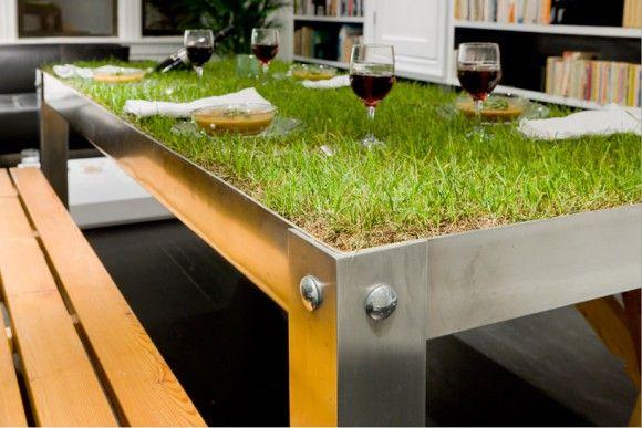 picnic everyday: Haikocornelissen, Idea, Green Tables, Picnics Tables, Outdoor Tables, Haiko Cornelissen, Indoor Picnics, Picnyc Tables, Grass Tables