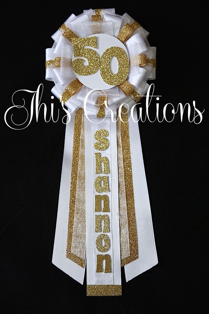 Shannon's 50th birthday pin/corsage/mum in white and gold... #JhisCreations