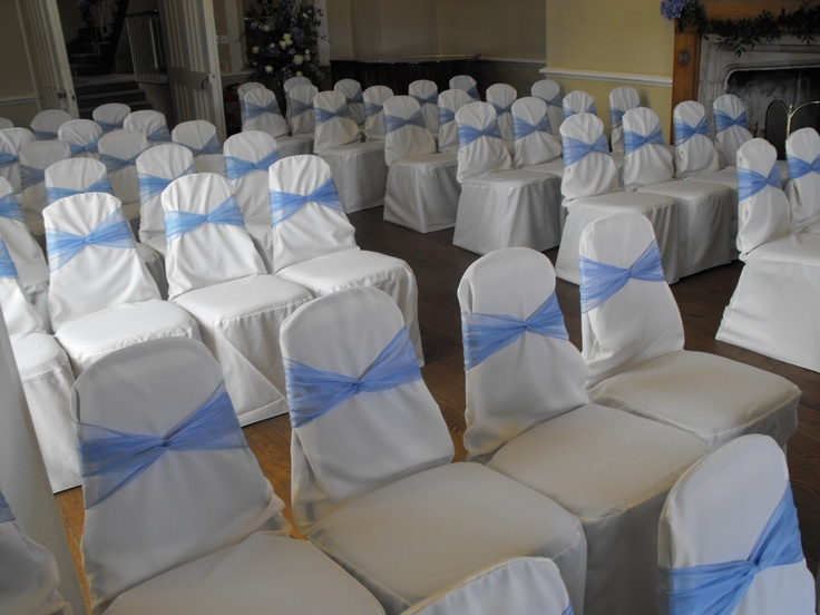 Baby Blue Organza Bows On White Chair Covers