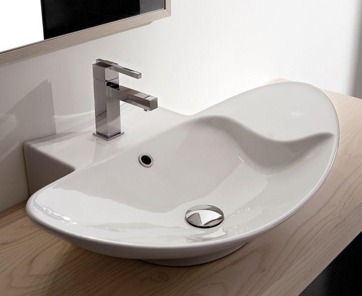 Zefiro    Sanitärkeramik    Maße: 68 x 50 cm    weiss, glasiert, mit 1 Hahnloch, mit Überlauf    Hängemodell oder standmodell