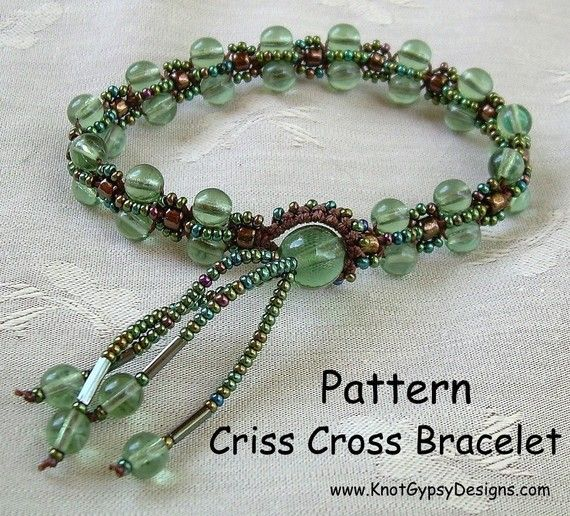 pattern here: http://www.etsy.com/listing/61390963/pattern-criss-cross-bracelet