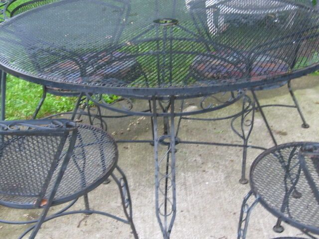 Russell Woodard Salterini Style Wrought Iron Dining Chairs Patio Table  Loveseatu2026