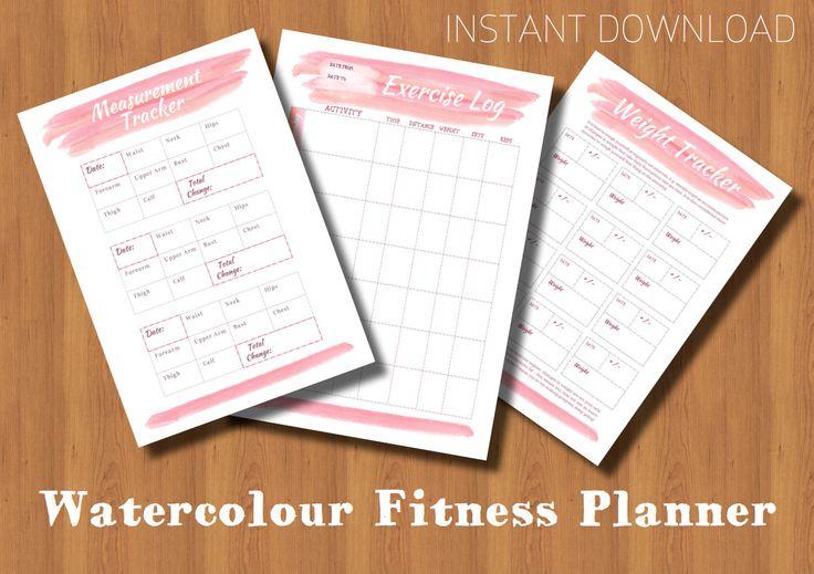 Planner stampabile Fitness rosa acquerello di DaisyChainDigital