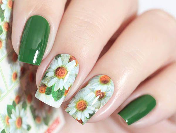 Ромашки на ногтях рисунок