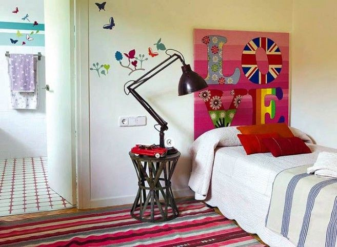 Girls Bedroom With Retro Interior Design Butterfly Wall Sticker Style Still Trend