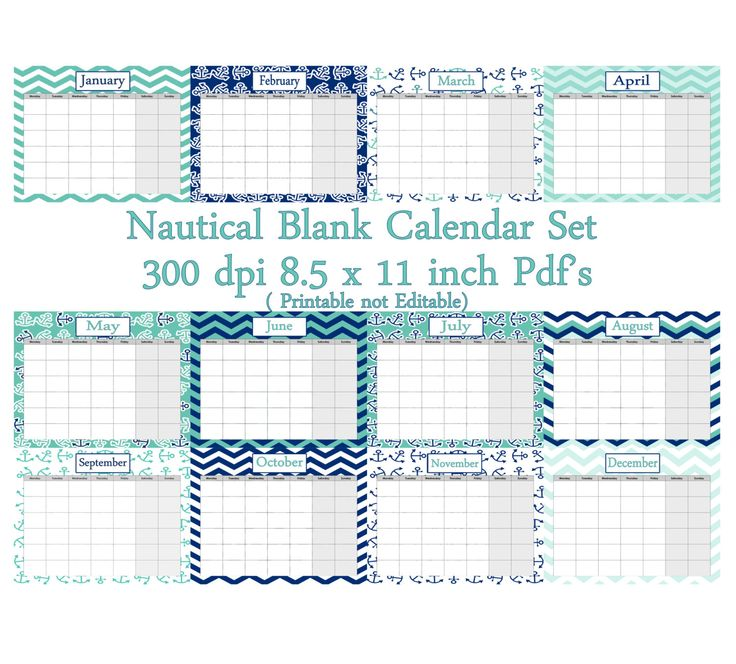 Nautical Blank Calender set- Instant  Download- Printable PDF's - pinned by pin4etsy.com