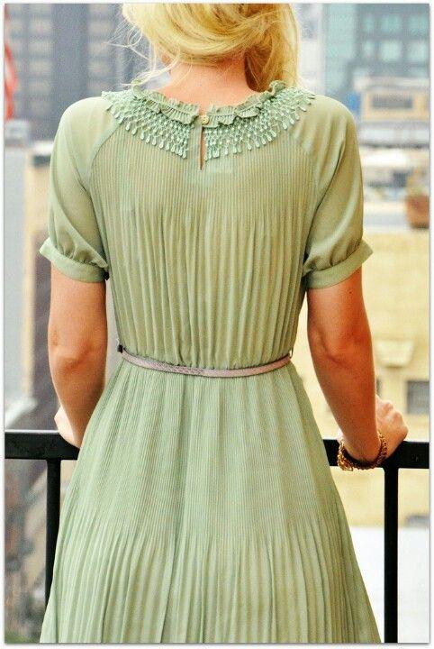soft green dress with neckline detailing