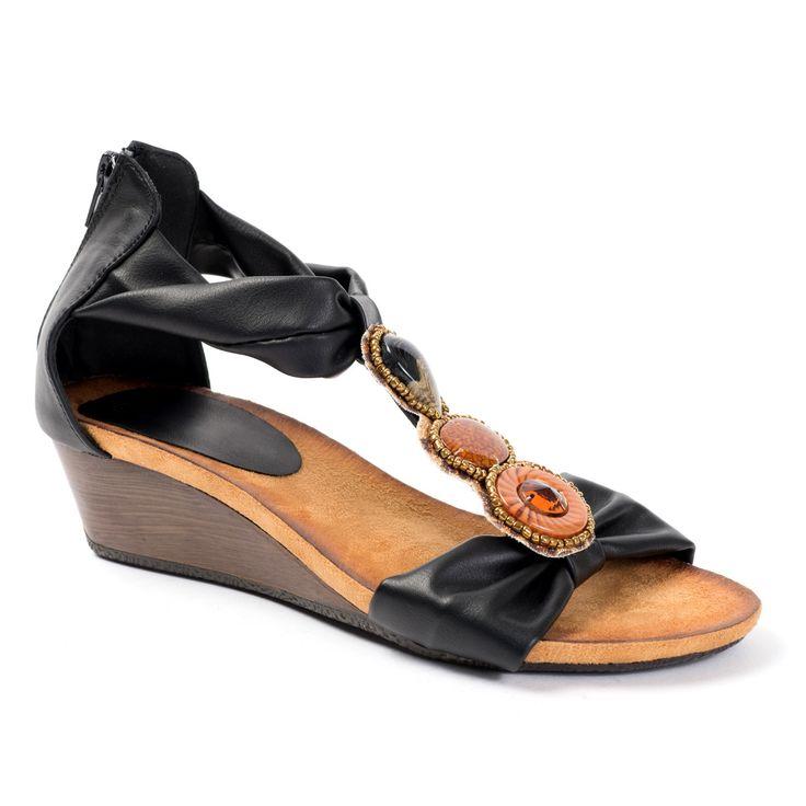 Sandales compensées noires à bijoux BOLLYWOOD