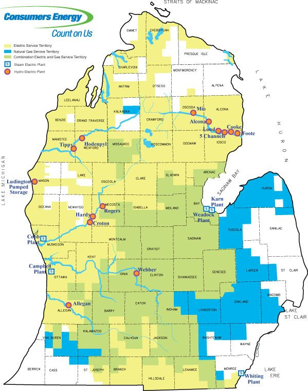 Consumers Energy Electric and Gas Service Territories Map