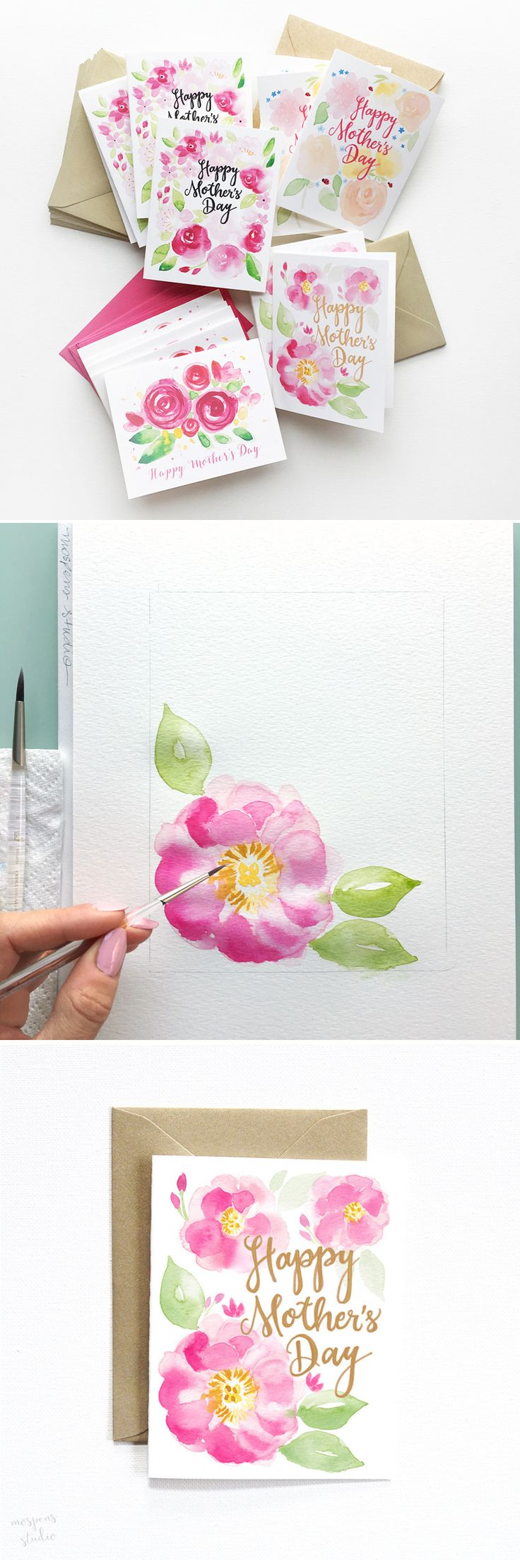 Beautiful watercolor floral Mother's Day Cards by artist Michelle Mospens - www.mospensstudio.com