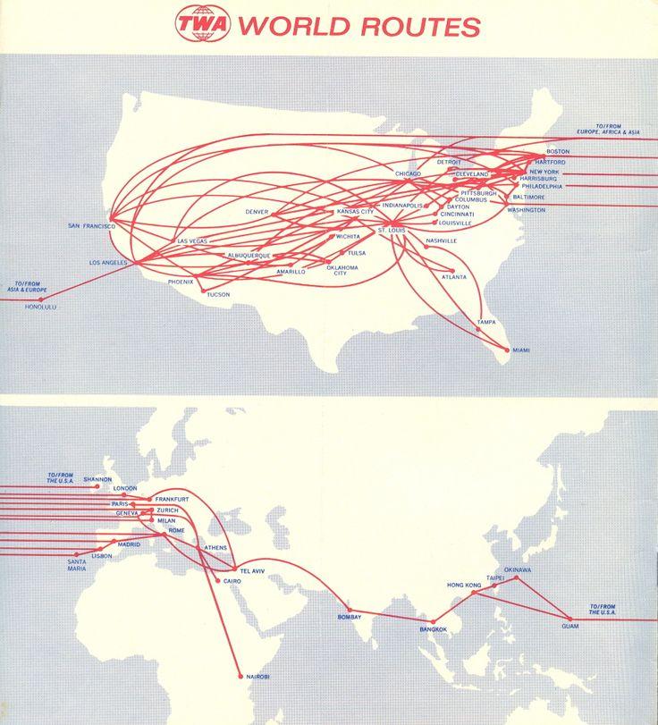TWA Route Map 1972.