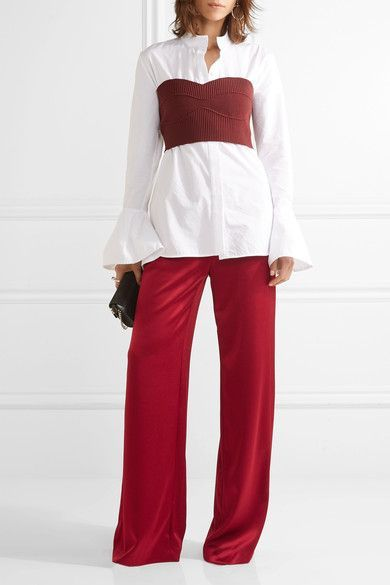 Claret satin Pull on 75% triacetate, 25% polyester; lining: 96% polyester, 4% elastane Dry clean
