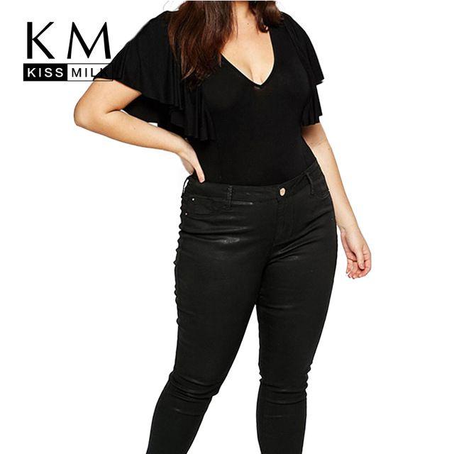 Kissmilk 2016 Femmes Plus Grande Taille Grande Taille Sexy Profonde V cou 3XL 4XL 5XL 6XL Manches À Volants Barboteuse Solide Mince Salopette