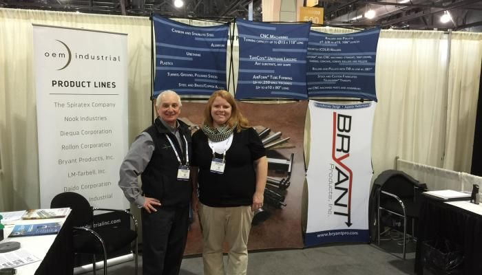 OEM Industrial's Owen McCarron with Tamara Wilson, VP Sales and Marketing, Bryant Products.  OEM and Bryant teamed up at the recent Pack Expo East show in Philadelphia.