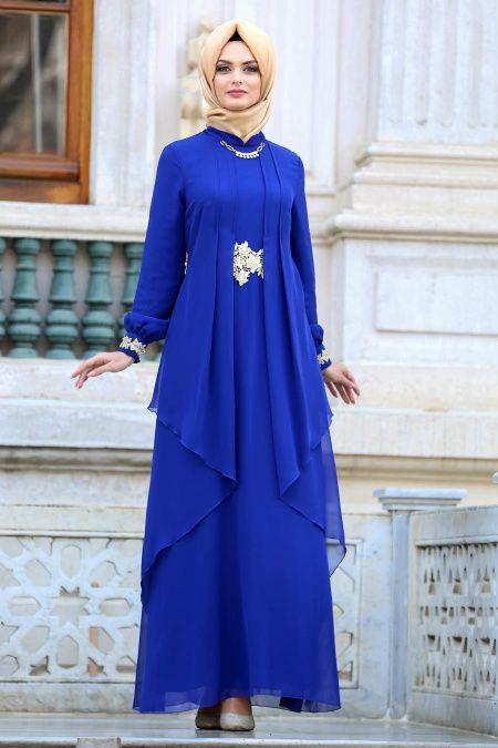 2995f425a4bb6 Nayla Collection - Beli Dantel Detaylı Lacivert Tesettür Abiye Elbise  52546L - Tesetturisland.com