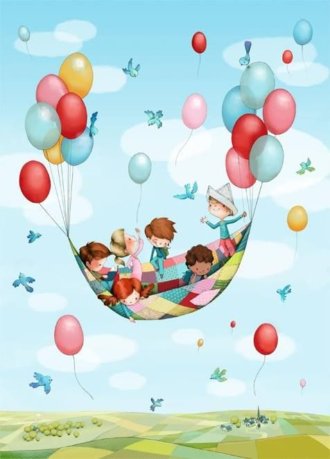 Children floating with balloons.
