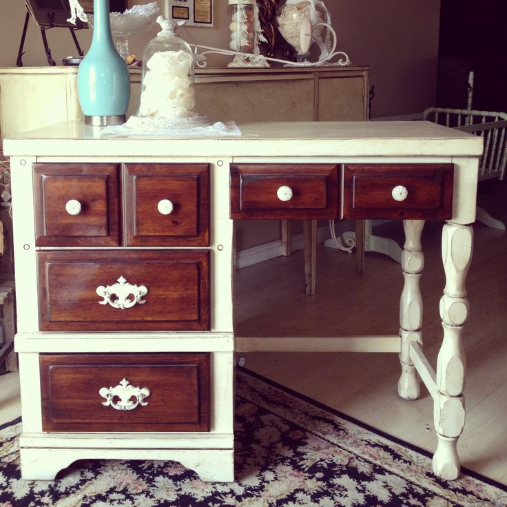 Refinished desk in cream and rich brown gorgeous .. Follow us on Facebook reclaim-ologists and other crafty chicks and Wasatch Wood Finishing