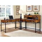 Modern Craftsman 2-Piece Distressed Oak and Deep Brown Office Suite