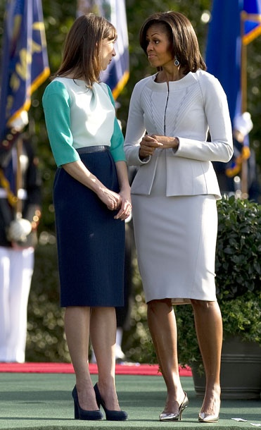 « The Michelle Obama Look Book 2012    31 of 76  March 14, 2012  Where: With Samantha Cameron at a welcoming ceremony at the White House in Washington, DC.  What: On Michelle: Dress and jacket by Zac Posen. On Samantha: Dress by Roksanda Ilincic.  Photo: Jim Watson/AFP/Getty Images    Email