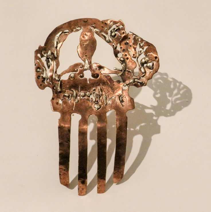 Decorative hair comb from Copper and Silver - By Cubici Corina - Florina.