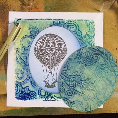 """""""The Gelli Plate Rocks!"""" Step by Step tutorial on Barbara Gray's Blog: Draw around the oval with a fine black pen. Colour in the Balloon with Distress Markers Nice!"""