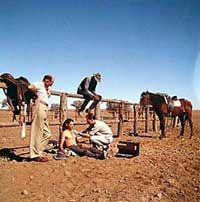 Royal Flying Doctor Service Australia Doctor treating an injured stockman, outback 1971