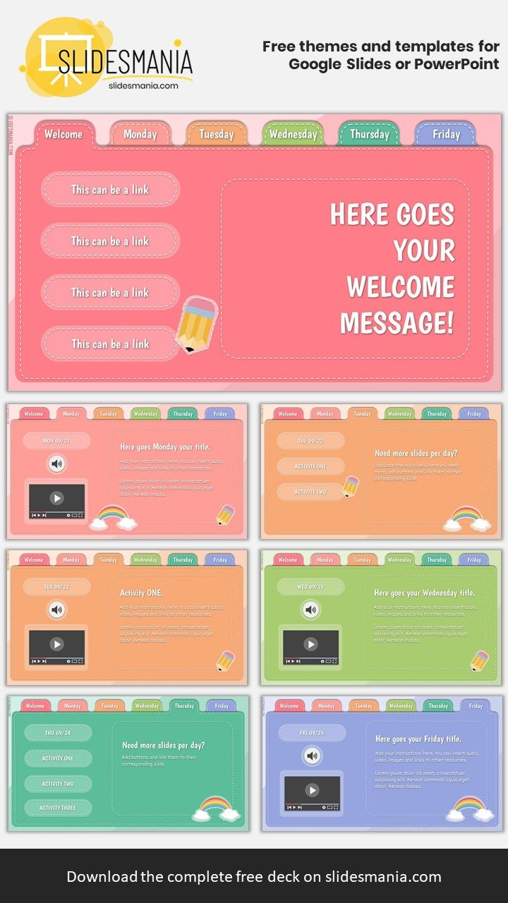 Stitches Free Weekly Planner For Google Slides Or Powerpoint Life Hacks For School Powerpoint Design Powerpoint Background Design