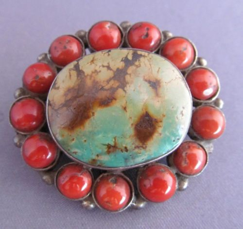 VINTAGE-STERLING-OLD-PAWN-NAVAJO-LONE-MOUNTAIN-TURQUOISE-amp-CORAL-OVAL-BROOCH-PIN