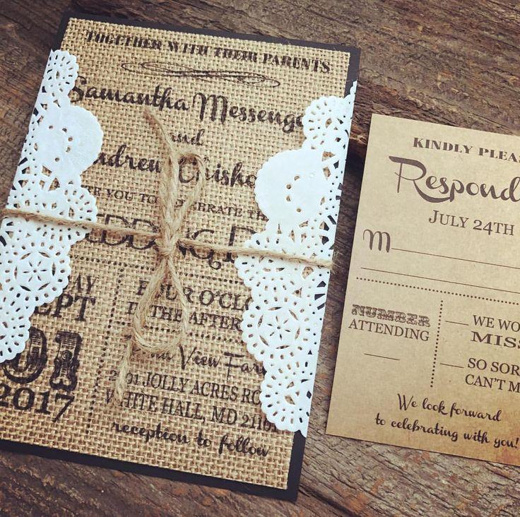 vintage doily wedding invitations%0A Burlap Wedding Invitation Set Rustic Wedding Invitation Vintage Wedding  Invitation Doily Wedding Invitation