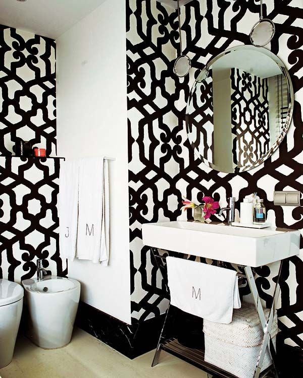 X Base Sink Bold Black And White Wallpaper Fab Round Mirror