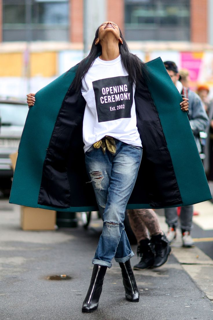 Grace wins.Models Off Duty, Fashion Weeks, Open Ceremonies, Grace Mahary, Fashion Models, Street Style, Fall 2014, Boyfriends Jeans