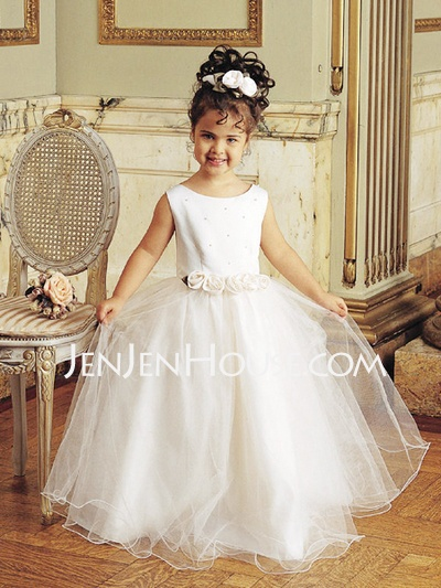 Flower Girl Dresses - $79.99 - A-Line/Princess Scoop Neck Floor-Length Satin  Tulle Flower Girl Dresses With Beading (010005904) http://jenjenhouse.com/A-line-Princess-Scoop-Neck-Floor-length-Satin--Tulle-Flower-Girl-Dresses-With-Beading-010005904-g5904