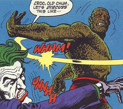 Detective Comics #526. Killer Croc reminds the Joker who is in charge of the situation.