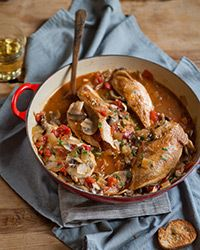 Chicken chasseur (literally hunter's chicken) is a fast, one-pot dish. The French classic combines mushrooms and chicken in a tomato and white-wine sauce.