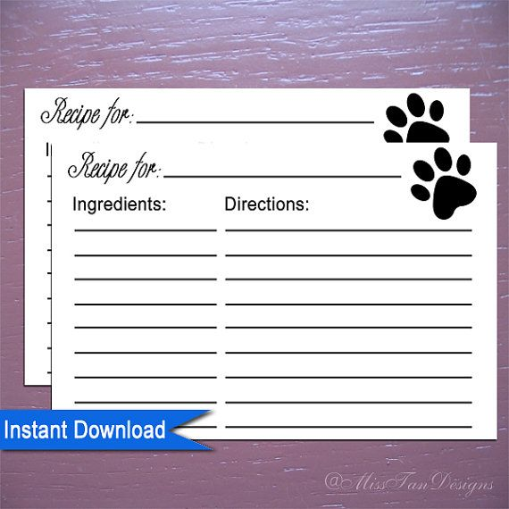 Printable Recipe Cards Template Paw Print For The Dogs Size  X