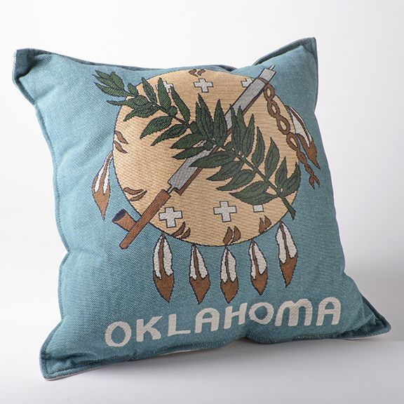 Square Oklahoma Flag Pillow - Oklahoma & Route 66 - National Cowboy Museum