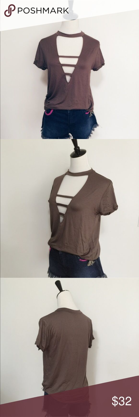 ⭐️JUST IN⭐️Boho open front top Lightweight top with a front open cut out top. Mocha colored, Made in the U.S.A. trades, bundle and save April Spirit Tops Tees - Short Sleeve