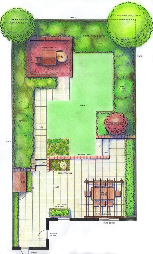 Plan drawing with overlapping rectangle theme geometric for Garden plot designs