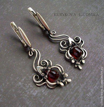#wirework #earrings  Серьги ручной работы. Ярмарка Мастеров - ручная работа серебряные серьги Гранатовый цвет. Handmade.