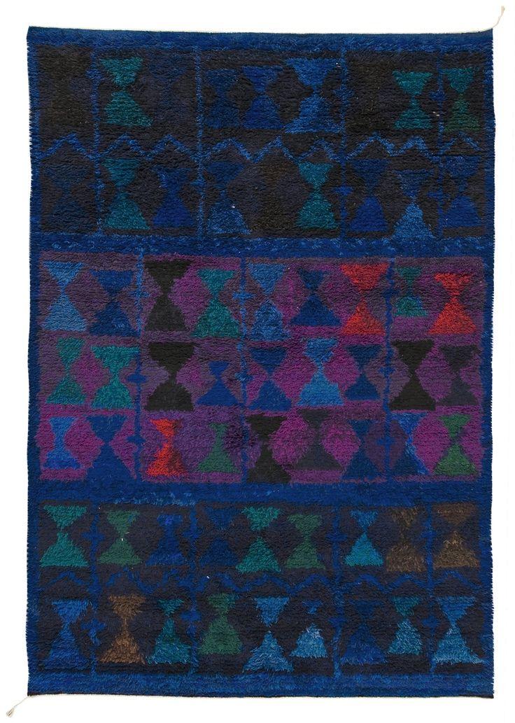 Ulla Schumacher-Percy; Wool 'Indigo-Mattan' Rya Rug, 1949.