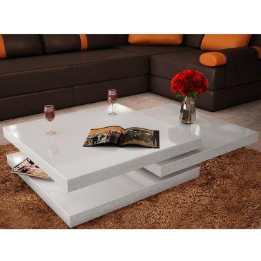 Table basse blanc laqué carrée pivotante 3 plateaux[1/7]