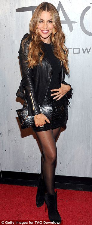 Sofia Vergara in a all black leather outfit @ 2013 Global Citizen Festival