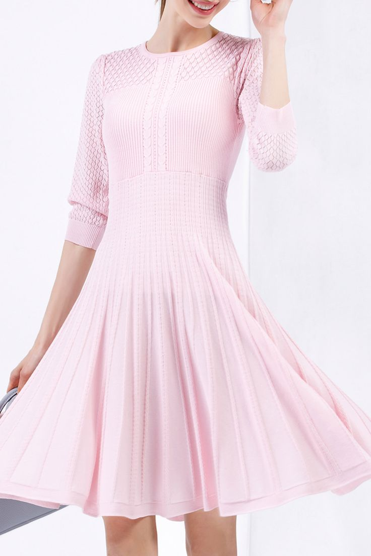 Bellywear Pink Pierced Midi Sweater Dress | Sweater Dresses at DEZZAL