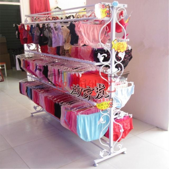 Ferro prateleira de piso cabide de roupa interior roupa de sutiã roupa interior de prateleiras de prateleira ilha