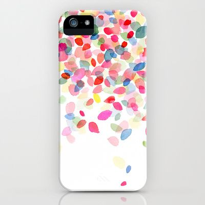 Watercolor Colorful Dots Falling iPhone & iPod Case by Yao Cheng Design - $35.00